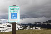 Handicap Parking Sign At A National Park Print by Bryan Mullennix