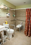 Shower Curtain Photo Framed Prints - Handicapped-Accessible Bathroom Framed Print by Andersen Ross