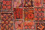 Checked Framed Prints - Handicraft Fabric Art Framed Print by Milind Torney