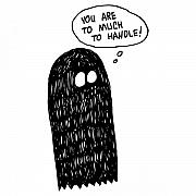 Scary Drawings Prints - Handle Ghost Comic Print by Karl Addison