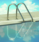 Water Swimming Pool Posters - Handles On Sides Of Pool Poster by ©jesuscm