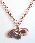Fire Jewelry - Handmade copper and mystic fire topaz pendant chain by Diana Dearen