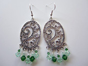 Spring Jewelry - Handmade Elaborate Chandelier Swarovski Crystal Earrings Green Light Green by Amy Lin