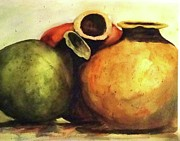 Jugs Painting Prints - Handmade Pottery Print by Mary Dunham Walters