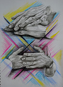 Hands Drawings Metal Prints - Hands 7 Metal Print by Francoise Dugourd-Caput