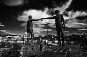Divide Prints - Hands Across The Divide Sculpture By Maurice Harron In Derry City County Londonderry Print by Joe Fox