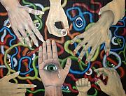 Hands And Eyes Print by Nancy Mueller