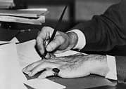 Pinky Ring Framed Prints - Hands Of Franklin D. Roosevelt Signing Framed Print by Everett