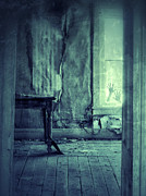 Haunted House Art - Hands on Window of Creepy Old House by Jill Battaglia
