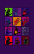 Patterned Drawings Metal Prints - Hands Poster Metal Print by Lydia L Kramer