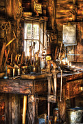 Garage Prints - Handyman - Messy Workbench Print by Mike Savad