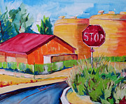 Stop Sign Painting Framed Prints - Hanford Water Towers Framed Print by Suzanne Willis