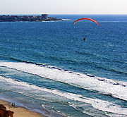 La Jolla Shores Posters - Hang Glider over Blacks Poster by Russ Harris