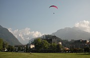 Gliding Prints - Hang gliding in Interlaken Switzerland  Print by Marilyn Dunlap