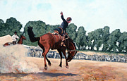 Bull Riding Paintings - Hang on Hastings by Tom Roderick