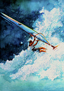 Wind Surfing Art Print Framed Prints - Hang Ten Framed Print by Hanne Lore Koehler