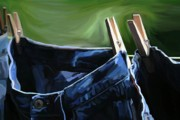 Washday Paintings - Hang the Blues Up by Patti Siehien