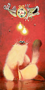Humorous Cat Paintings - Hang Time by Baron Dixon