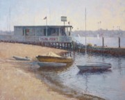 Docked Boats Painting Posters - Hangin at the Mini Mart Poster by Sharon Weaver