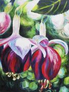 Fuschia Painting Posters - Hangin Together Poster by Barbara Eberhart