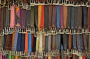 Leather Belt Framed Prints - Hanging colorful leather belts Framed Print by Sami Sarkis