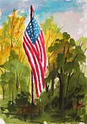 Flag Of Usa Drawings Posters - Hanging Gracefully Poster by John  Williams