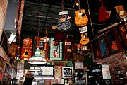 Signed Digital Art Posters - Hanging Guitars at the Rum Boogie Cafe Poster by Suzanne  McClain
