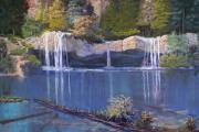 Waterfall Pastels Originals - Hanging Lake by Heather Coen