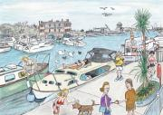 Boats In Water Drawings - Hanging Out at Oulton Broad by Steve Royce Griffin
