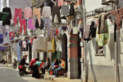 Shanghai China Tapestries Textiles Originals - Hanging out in the streets of Shanghai by Christine Till