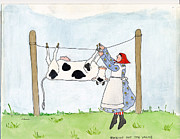 Pun Paintings - Hanging out the vache by Simi Berman