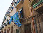 Sicily Photo Prints - Hanging Out To Dry In Sicily Print by Madeline Ellis