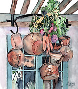 Vegetables Paintings - Hanging Pots And Pans by Arline Wagner