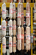 Delicatessen Framed Prints - Hanging Salami Framed Print by Wingsdomain Art and Photography