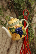 Hanging Pot Framed Prints - Hanging tea pot Framed Print by Diane  Greco-Lesser
