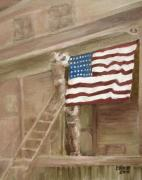 Patriotism Painting Framed Prints - Hanging the Flag - 2 Framed Print by Frieda Bruck