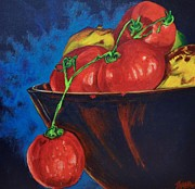 Tomatos Painting Metal Prints - Hanging Tomato Metal Print by Theresa Eisenbarth