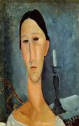 Candlestick Framed Prints - Hanka Zborowska with a Candlestick Framed Print by Amedeo Modigliani