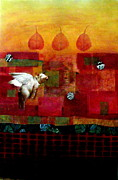 Grid Mixed Media Prints - Hanna The Flying Pig Print by Susan McCarrell