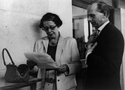 Activists Framed Prints - Hannah Arendt With A Fellow Reporter Framed Print by Everett