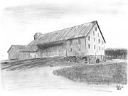 Shed Drawings Prints - Hanover Barn 1 Print by Carl Muller