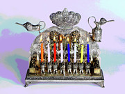 Hanukah Prints - Hanukah Menorah Celebration Print by Larry Oskin