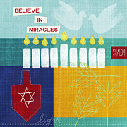 Red Leaf Mixed Media Posters - Hanukkah Miracles Poster by Linda Woods