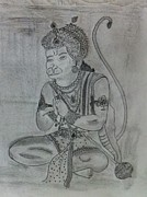 Hindu Drawings Posters - Hanuman ji Poster by Monika