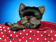 Catia Cho Art - Happines Is a warm puppy by Catia Cho