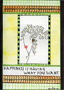 Gold Lime Green Framed Prints - Happiness Framed Print by Christy Woodland