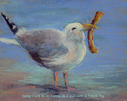 Seagull Pastels Framed Prints - Happiness Is ... Framed Print by Karen Margulis