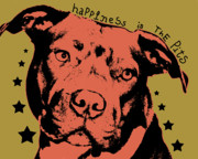 Pitbull Mixed Media Posters - Happiness Is The Pits Poster by Dean Russo