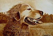Sepia Pyrography Prints - Happiness Print by Jo Schwartz