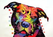 Animal Artist Posters - Happiness Pitbull Warrior Poster by Dean Russo
